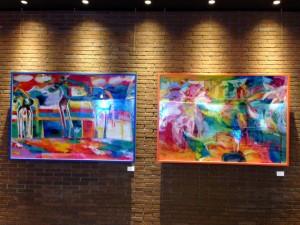 衣笠泰介の油彩画、競馬場とヒマワリ