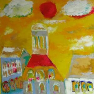 衣笠泰介の油彩画ブダペストの温泉
