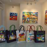 同じ形のバッグに14種類の絵を描く。コラボレーションペインティング覚え書き。