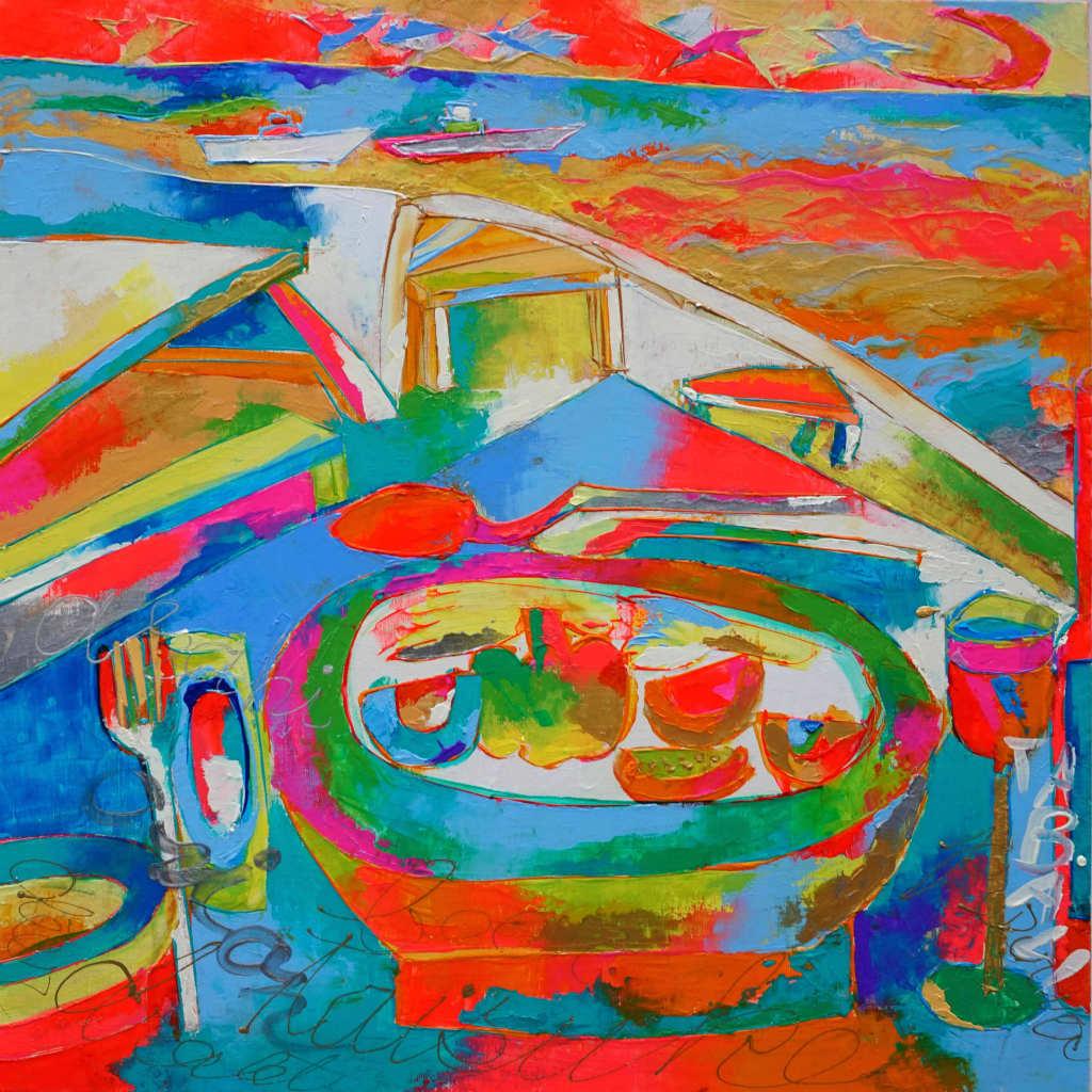 衣笠泰介Taisuke Kinugasa油彩画 沖縄の海辺のレストラン