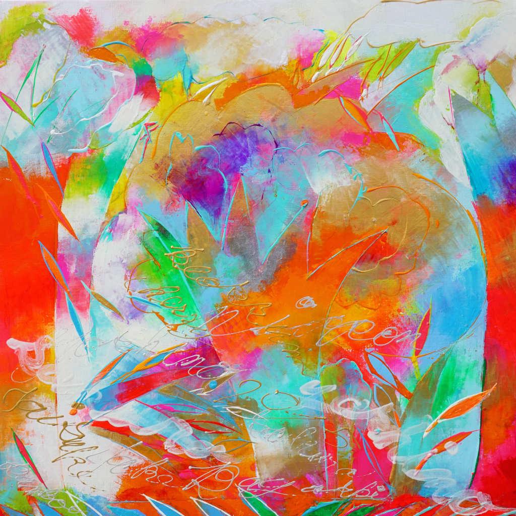 衣笠泰介の油彩画吉野桜と竹林